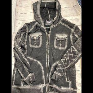 Buckle Black fleece lined zip-up hoodie sz XXL EUC